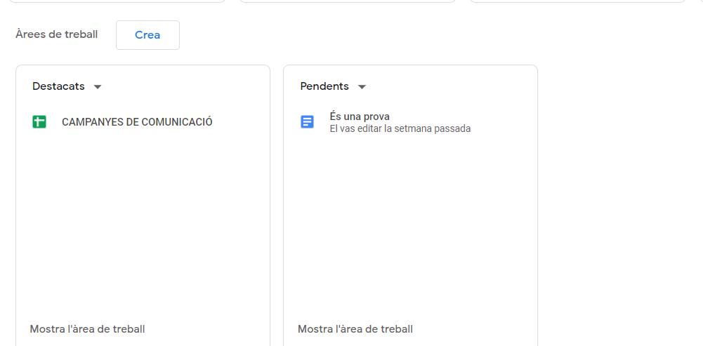 arees de treball Google Drive