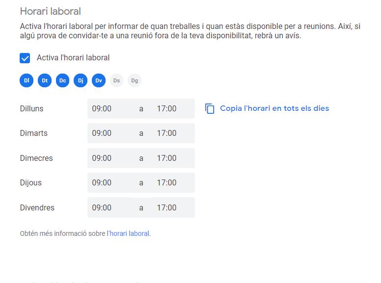 horari de treball Google calendar